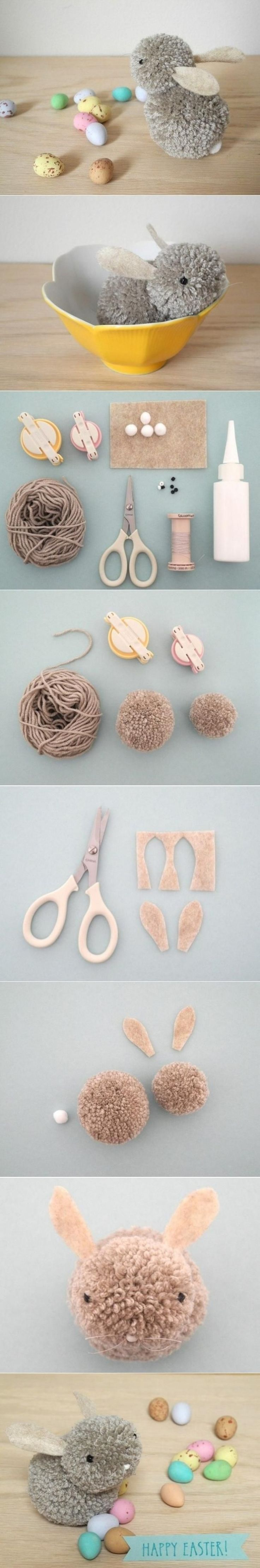 17. DIY Pom Pom #Bunny - 31 Playful Pom Pom Crafts for Kids and #Adults ... → DIY #Playful