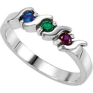 Mothers Ring Engraved Birthstone Ring 2 Stones Ring -925 Sterling Silver - Personalized & Custom Made y0Pbk