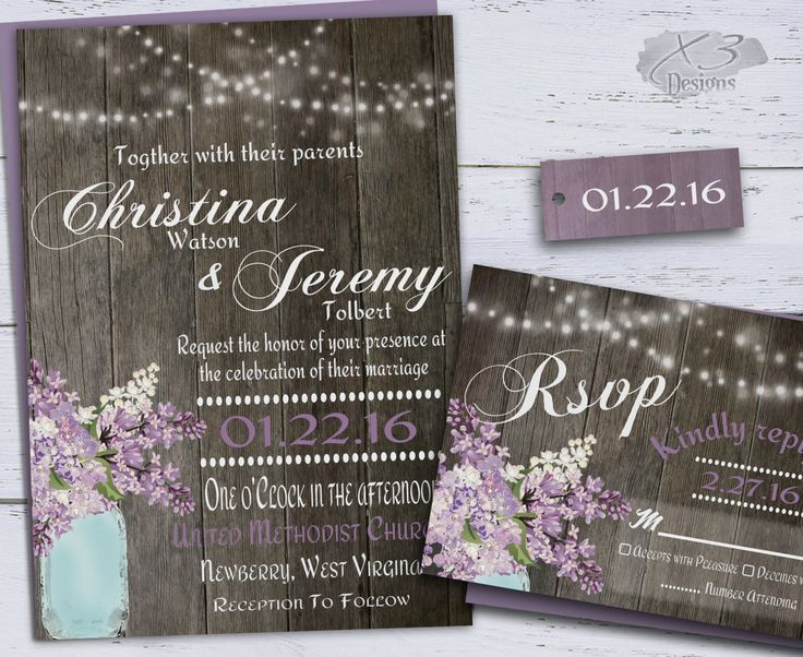 Rustic Wedding Invitation, Country Mason Jar Wedding Invitations, String Lights & Purple Spring Lilacs Printable Barn Wedding Invite Set DIY