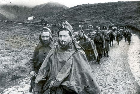 Greek troops march from Koritza towards the front in 1941
