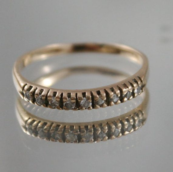 Antique solid 9k 375 gold ring 9 claw set by antiquevintagenstuff