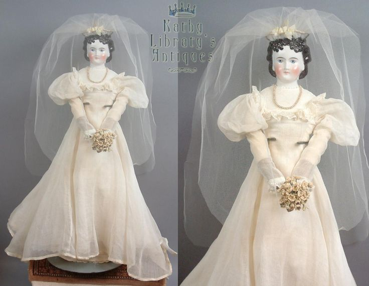 """21"""" China Lady Doll With Immaculate Double Chignon on Original Body C. 1861 In Bridal Gown"""
