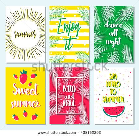 Set of greeting summer card with sunburst, watermelon, palm leaf, strawberry, stripe, dots. Hello summer, enjoy it, fresh summer, good vibe. Template for card, blog, flyer, invitation, poster. Summer.
