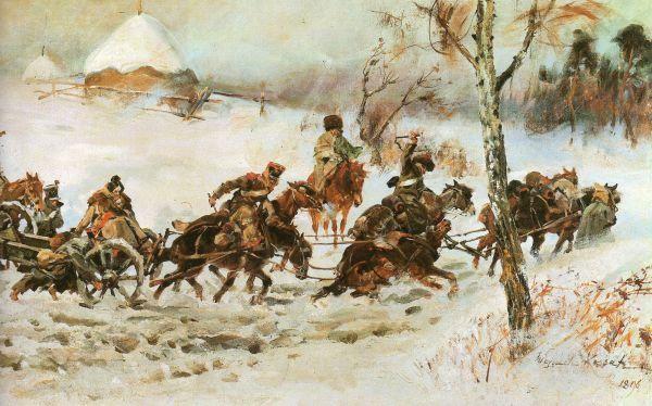 Artyleria w odwrocie szkic do panoramy Berezyna - Wojciech Kossak