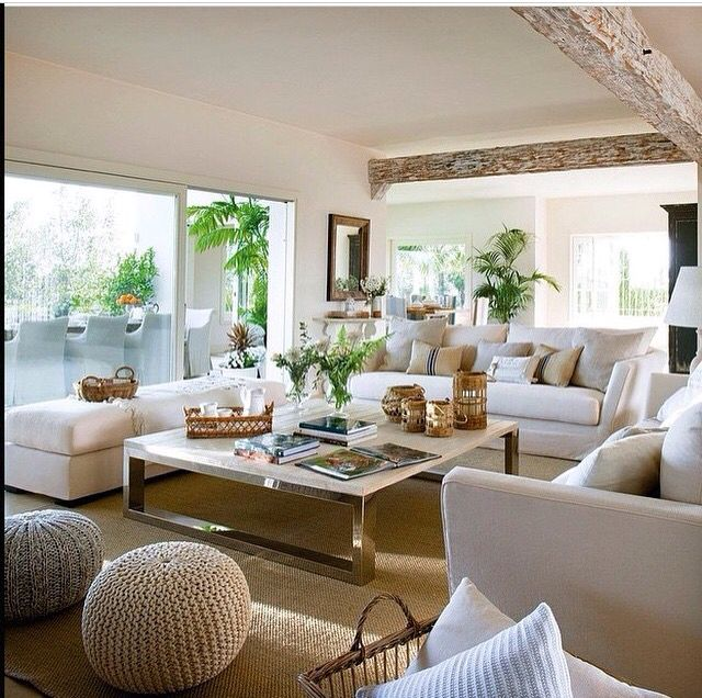 Modern Coastal Living Room, Love The Beams