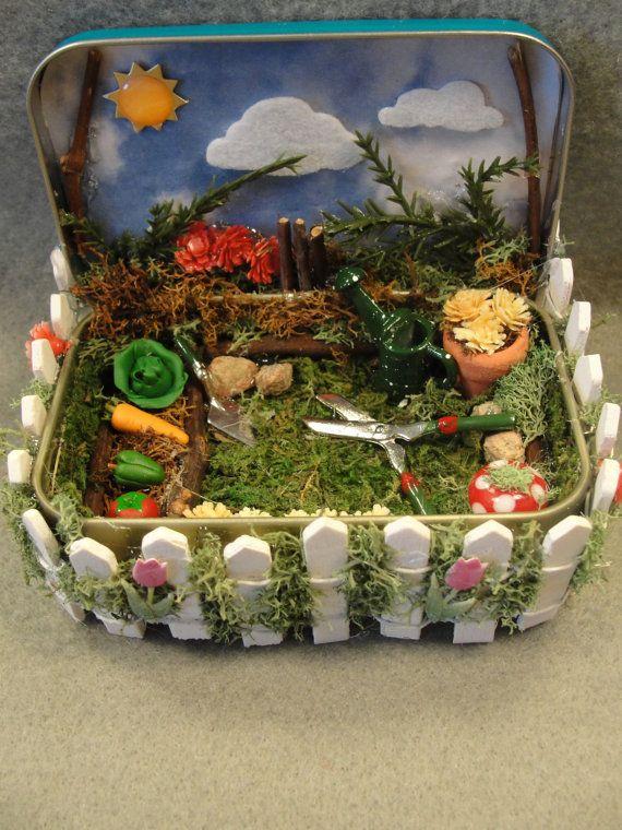 Spring Garden Nature Altered Shadow Box Tin Miniature Keepsake Trinket Decoration