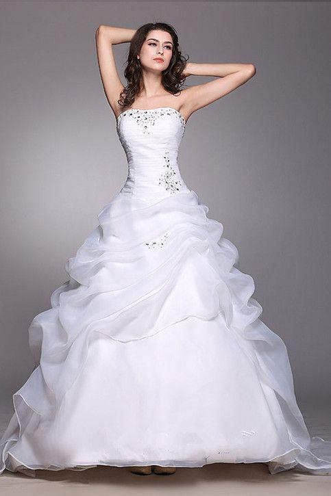 Strapless Organza White/Ivory Long Train Wedding Dress