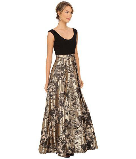 Aidan Mattox Cap Sleeve Ballgown w/ Jacquard Foil Skirt