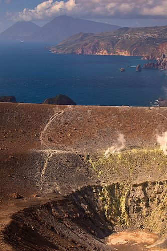 > View of the Aeolian Islands from the crater of Etna Vulcano, Sicily