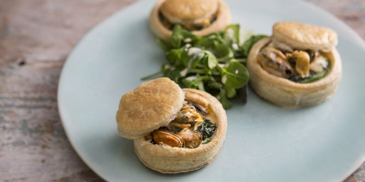 Retro vol-au-vents get a modern makeover with this mussel, blue cheese and spinach vol-au-vent recipe from chef Mark Dodson.