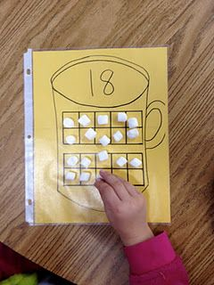 10 frames - marshmallows in hot chocolate. Math work station!