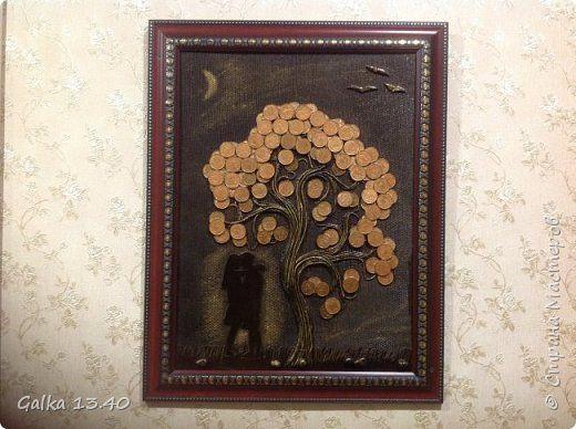 Картина панно рисунок Аппликация из скрученных жгутиков Денежное дерево Монета фото 1