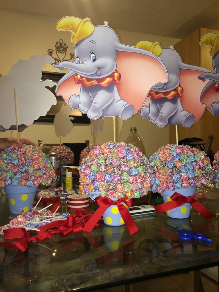 Dumbo centerpieces for a circus theme 1st bday!
