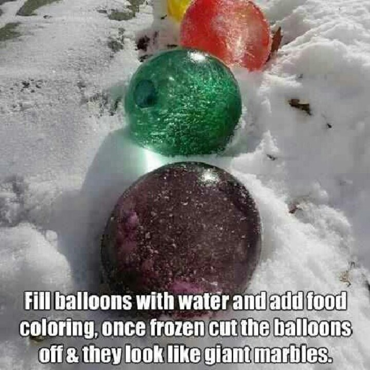 wow really fun winter idea!  Took forever to freeze I'd suggest freezing them in the freezer first!
