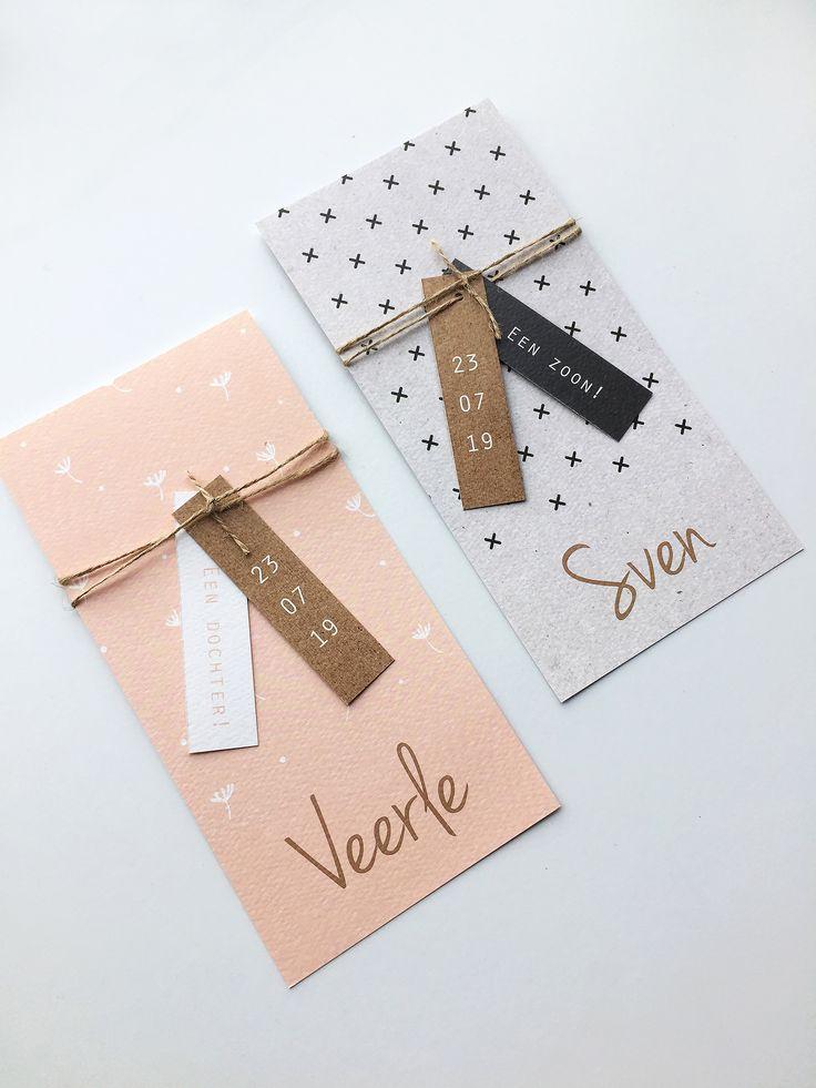 Geboortekaartje met kruisjes en ruimte voor label / Geboortekaartje met bloemetjes en ruimte voor een label | Geboortekaart | Geboortekaartjes | Labels | DIY |