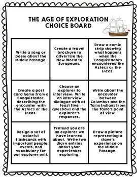 Age of Exploration Differentiated Choice Board - Set of 2