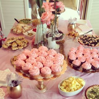 Pink and gold baby shower Great tip for cheap tablecloth ...