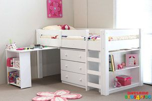 The Rio Reversible midi sleeper features a single bed with 3 large drawers, book case, as well as pull out desk computer desk that slides all the way under the bed. This bed is fully reversible. The bed is the perfect all in one solution for small bedrooms and rooms with ceiling fans.