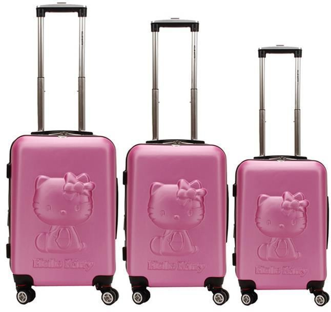 "Hello Kitty Luggage Pearl Pink Suitcase 24"" Rolling Bag Women Suitcases"