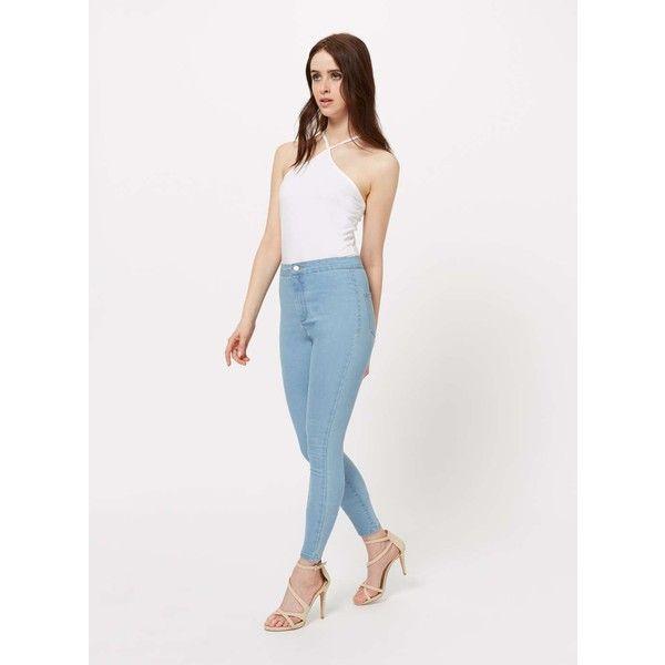 Miss Selfridge STEFFI Cloud Blue Super High Waist Jeans ($29) ❤ liked on Polyvore featuring jeans, light wash, skinny jeans, high-waisted skinny jeans, white high waisted jeans, super high rise skinny jeans and white skinny jeans