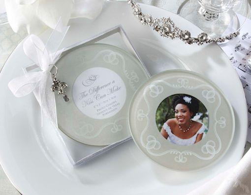 Round Photo Glass Coasters Wedding Favours (Set of 2)