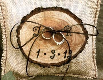 Wedding Ideas: Rustic Wedding Ring Pillows - MODwedding