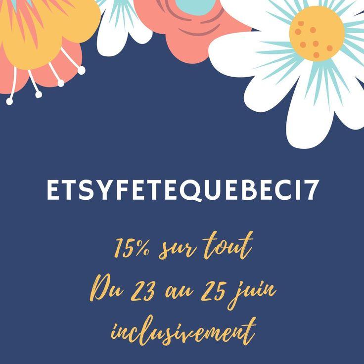 Plusieurs artisans québécois se sont mis ensemble pour vous offrir des rabais pour la fête nationale! En entrant le code ETSYFETEQUEBEC17, obtenez 15% de rabais sur TOUT en boutique ! Au plaisir 😊