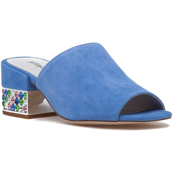 JEFFREY CAMPBELL Teseida-Jh Sandal Dusty Blue Suede Pastel Multi ($160) ❤ liked on Polyvore featuring shoes, sandals, dusty blue suede, multi color sandals, mid-heel shoes, multi colored sandals, jeffrey campbell sandals and jeffrey campbell footwear