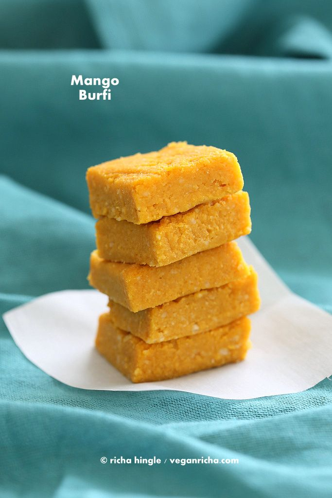 This Indian Vegan Mango Burfi is a fudgy sweet cardamom infused fudge perfect for summer. With a few ingredients, no dairy and lots of deliciousness.