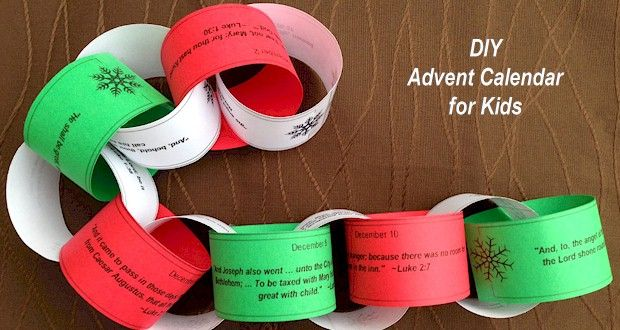 Create an Advent Calendar Paper Chain with Bible verses for the Christmas Story. Print in different colors and decorate the tree on Christmas.
