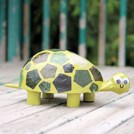 Paper Mache Patchwork Turtle