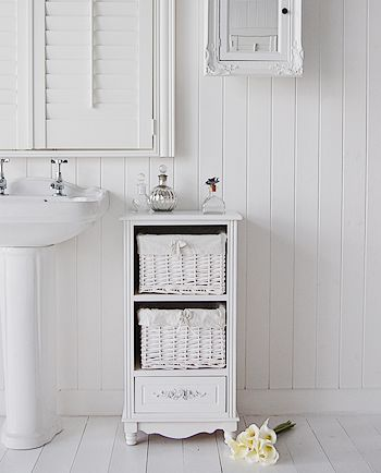 Rose white bathroom storage. The free standing cabinet has 2 basket drawer and one wooden drawer with elegant handle from White Cottage Livi...