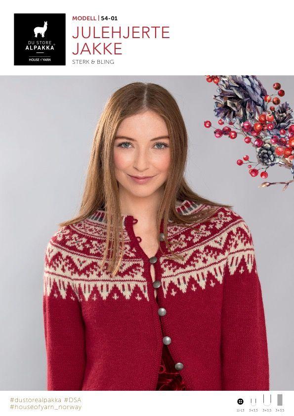 Du Store Alpakka 54-01 Julehjerte jakke