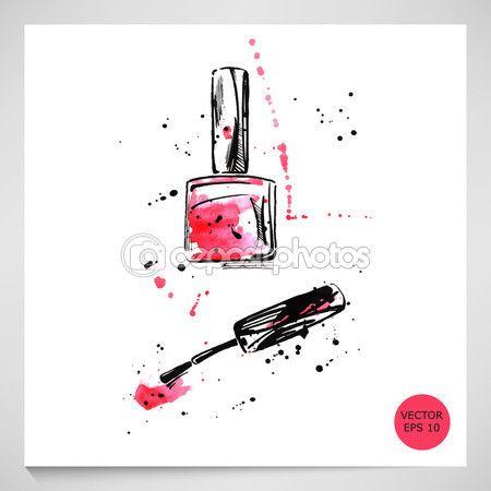 Λήψη - Ακουαρέλα εικονογράφηση βερνίκι νυχιών. Εικονογράφηση μόδας. Διάνυσμα — Αρχείο Εικονογράφησης #102785544
