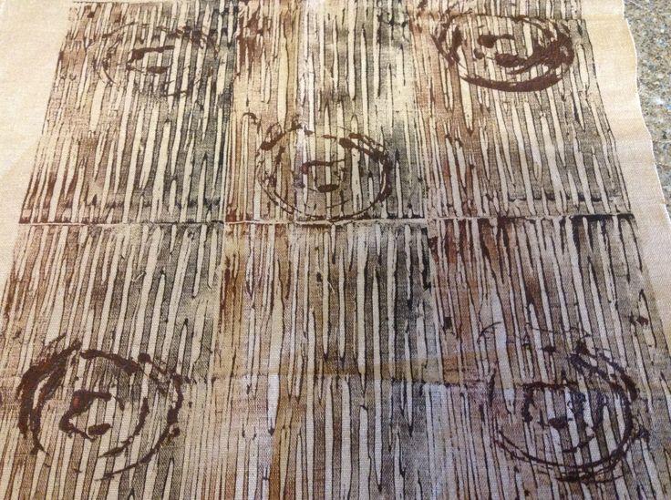 wood inspired lino print