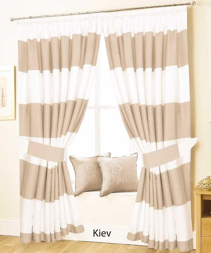 From £14.95 - PAIR OF PENCIL PLEAT LINED THERMAL STRIPED CURTAINS –WHITE AND BEIG–KIEV | Love2Sleep