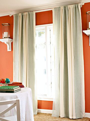 """Great option to add stripes to a room with curtains without having to find an actual vertically striped curtain. Just place 8"""" panels of different colors on curtain rod and alternate colors."""