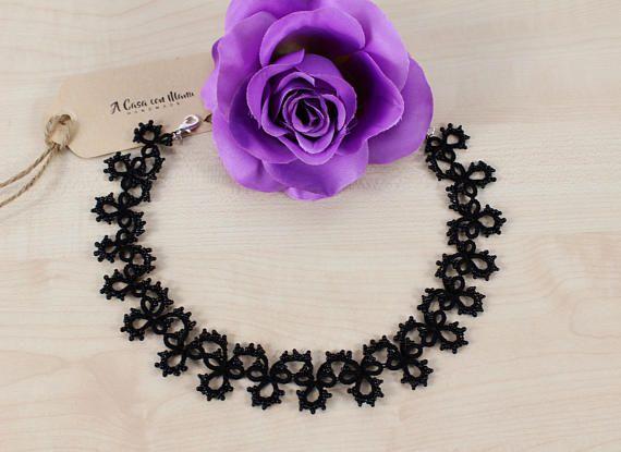 Collana nera donna romantica elegante regalo collana nera da