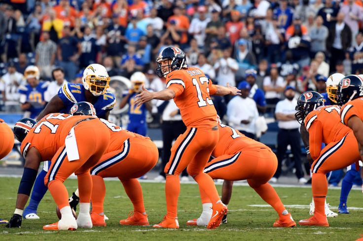 Broncos vs. Chargers:   October 13, 2016  -  21-13, Chargers   -       Denver Broncos quarterback Trevor Siemian (13) call the play at the line of scrimmage during the first quarter against the San Diego Chargers October 13, 2016 at Qualcomm Stadium in San Diego, Calif.