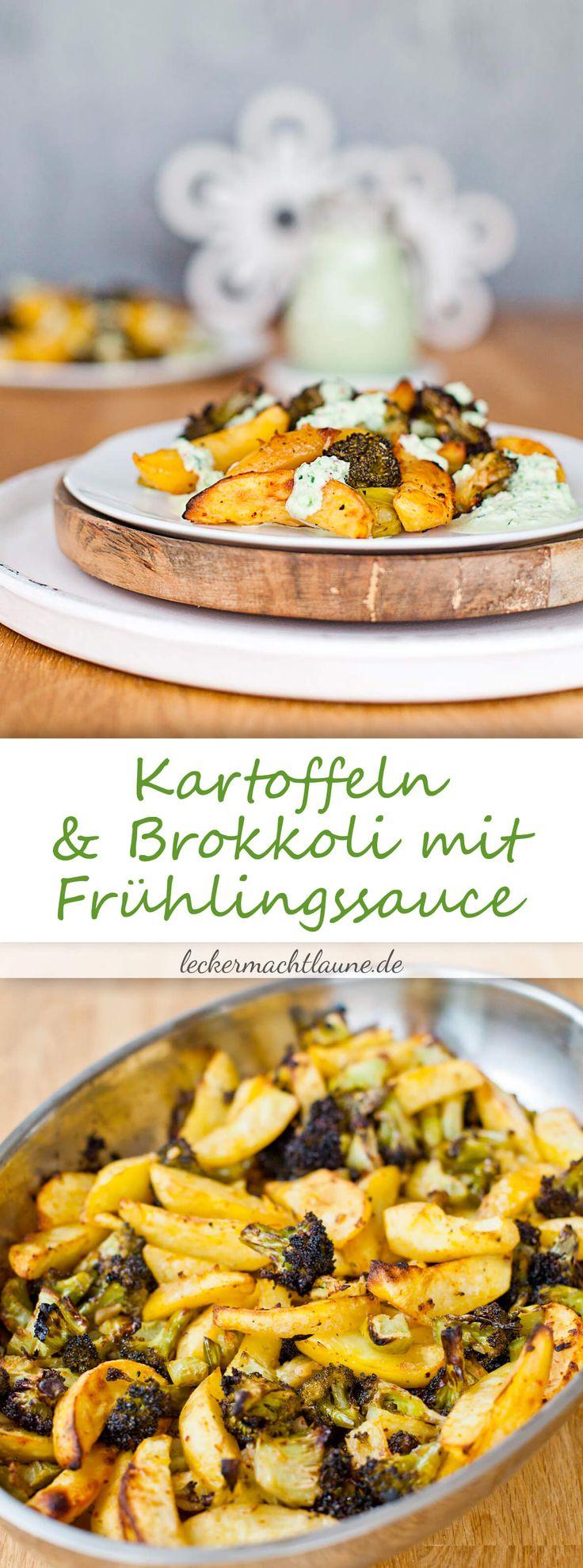 Sehr leckeres Abendessen (oder auch Mittags), das mit wenig Aufwand zubereitet ist: Ofengeröstete Kartoffeln und Brokkoli mit Frühlingssauce.