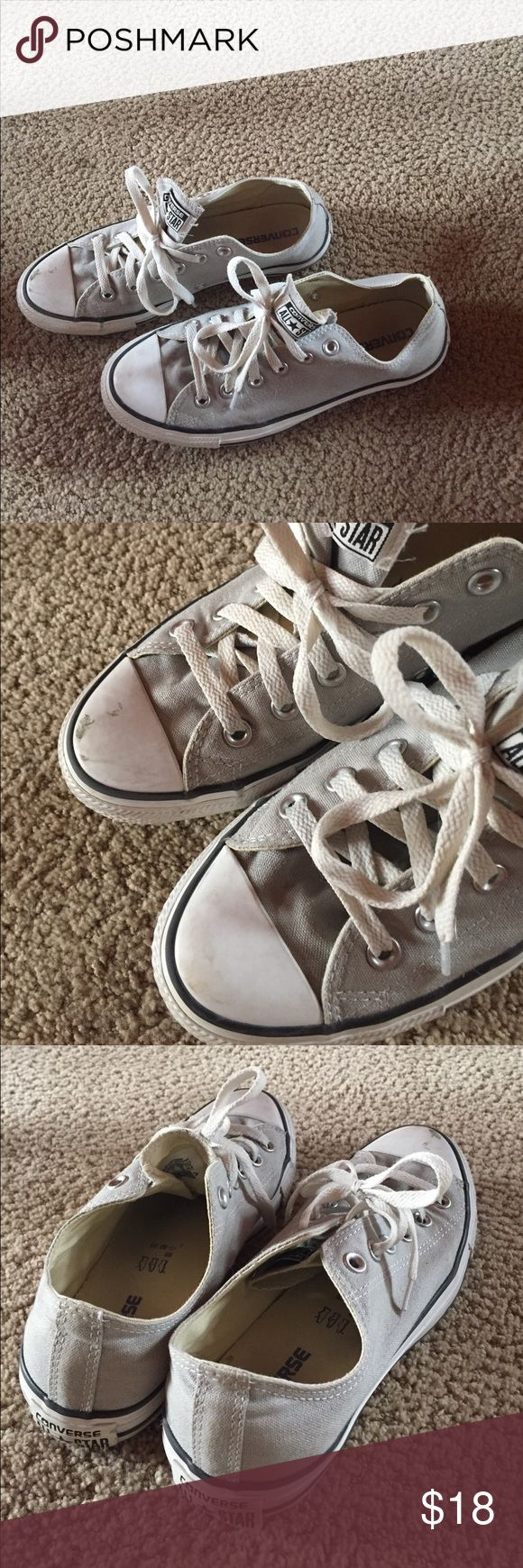 Women's converse size 9 Right shoe does have scuff mark on toe. Could be easily covered with white finger nail polish, etc. Converse Shoes Sneakers