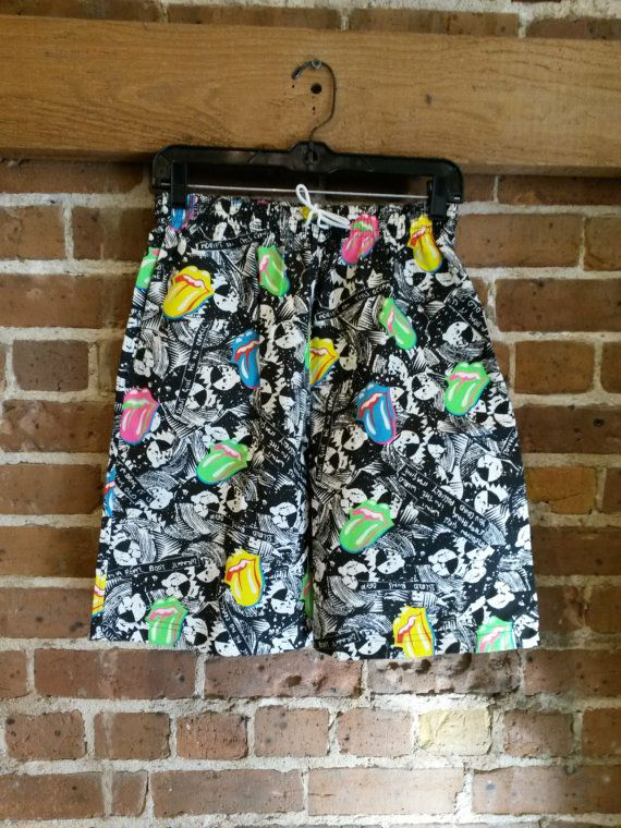 Vintage Rolling Stones 80's neon shorts NWT Steel by RevolveYbor
