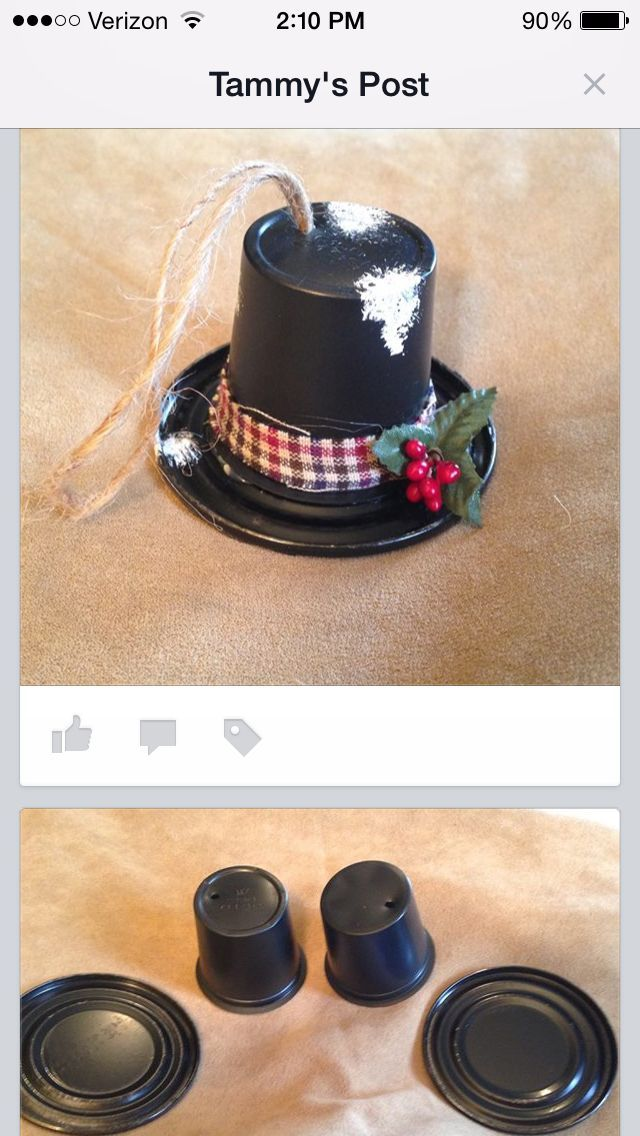 K-Cup Upcycled Frosty Hat ... looks like the 'lid' from a tomato paste can for the base?
