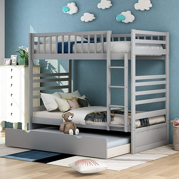 Merax Twin Over Twin Bunk Bed With Trundle Solid Wood Bunk Beds For Kids Trundle Bed Twin Size Without Dr Wood Bunk Beds Twin Bunk Beds Bunk Bed With Trundle Solid wood bunk beds twin over twin