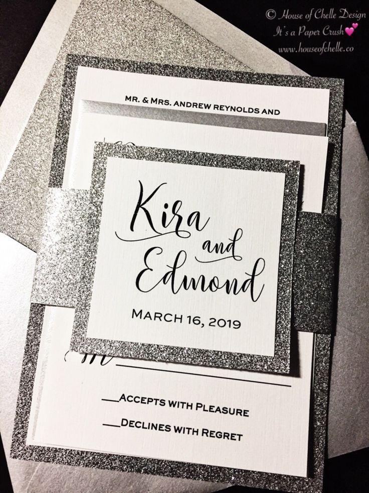 Silver Wedding Invitation Silver Glitter Wedding Invitation Elegant Wed Glitter Wedding Invitations Silver Glitter Wedding Silver Glitter Wedding Invitations