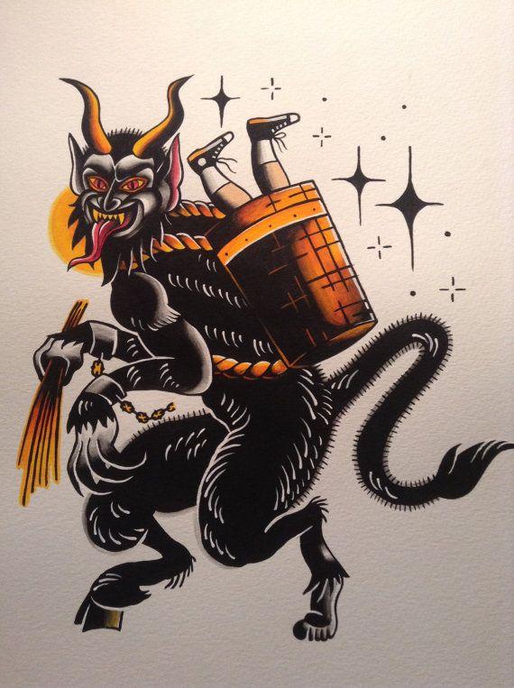 Krampus flash tattoo print by BosWorkshop on Etsy