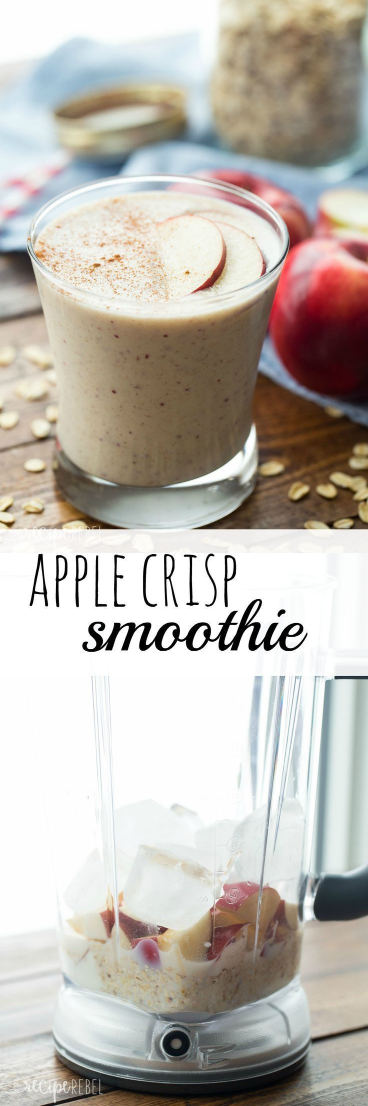 This Apple Crisp Smoothie has all the flavors of this favorite dessert — apple, oats, and cinnamon — in a healthy smoothie that's perfect for breakfast (or a healthier dessert!).