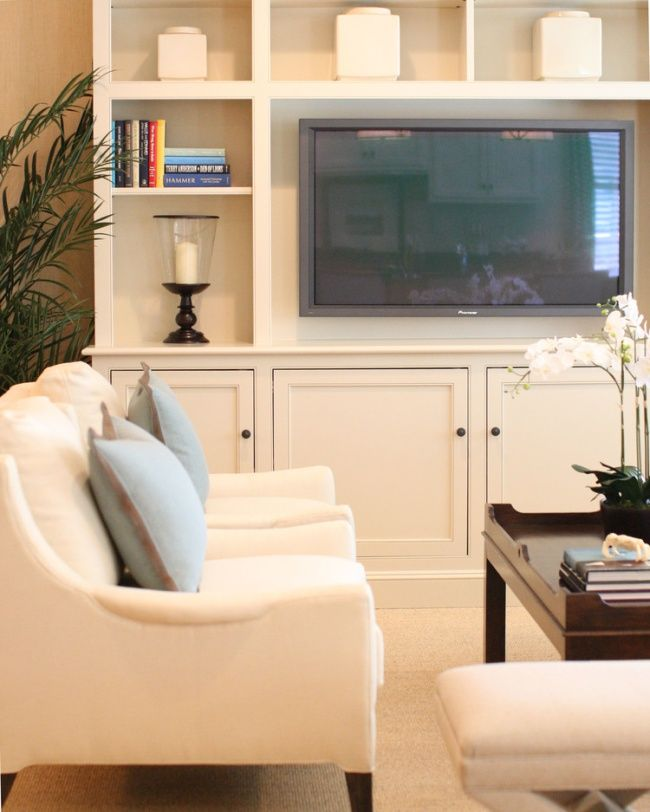 Shallow built ins with space for flat screen.  In Good Taste: J.K. Kling - Design Chic