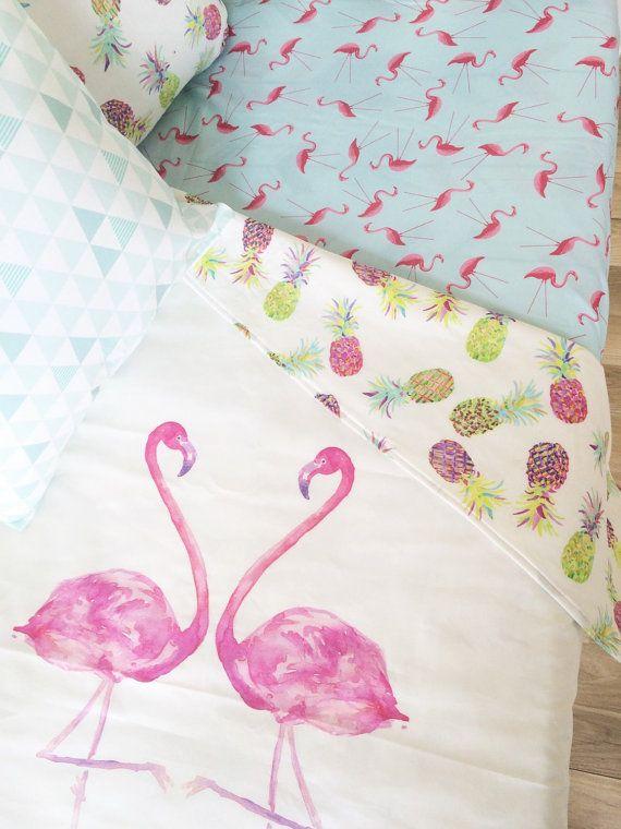 Modern girls crib blanket. Tropical crib blanket. Flamingo