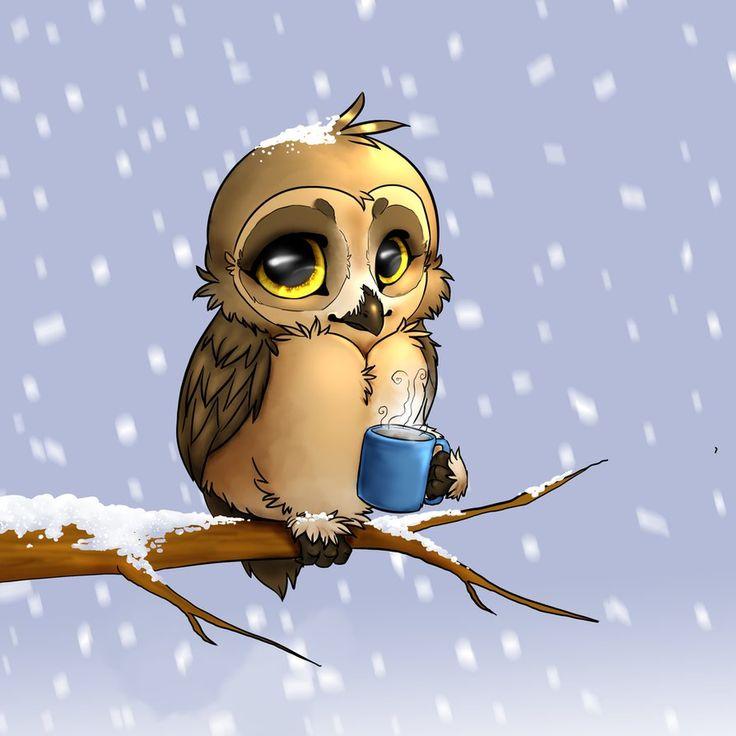 Февраля шуточные, анимационные картинки совы утром